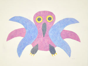 Pink Owl, drawing by Meelia Kelly