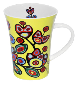 Norval Morrisseau Floral on Yellow Porcelain Mug