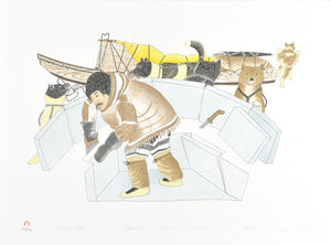 BUILDING THE SNOWHOUSE by Kananginak Pootoogook