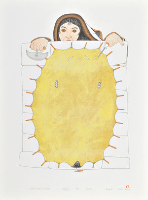 STRETCHED SEALSKIN ON SNOWBLOCK by Kananginak Pootoogook