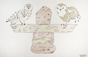 Owls on inuksuk by Ooloosie Saila