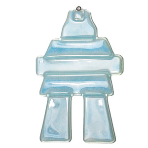 Blue Inukshuk glass sun catcher by Nancy Legassicke
