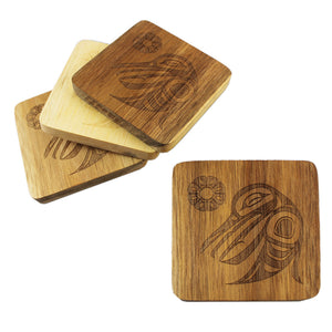 Acacia wood Coaster Set of 4 - Hummingbird by Trevor Angus