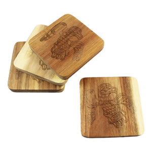 Acacia wood Coaster Set of 4 - Eagle by Ernest Swanson