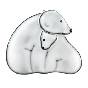 Polar Bear glass sun catcher by Nancy Legassicke