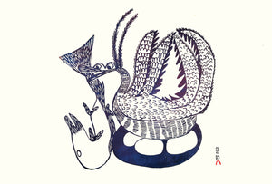 Bird with Fish by Pitseolak Ashoona inuit art