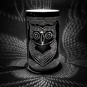 Pillar Tin Punched Lamp Owl Family