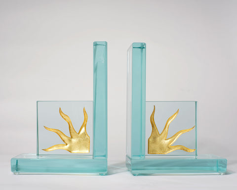 Gold Flame Bookends
