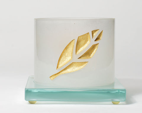 Frosted Votive Holder With Gold Leaf