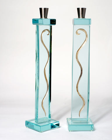 Silver Fern Tall Candle Holders