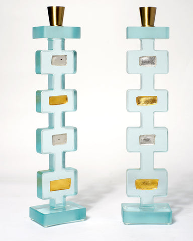 Silver And Gold Geometrik Tall Candle Holders