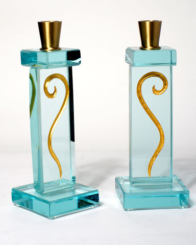 Gold Fern Short Candle Holders --Sold--