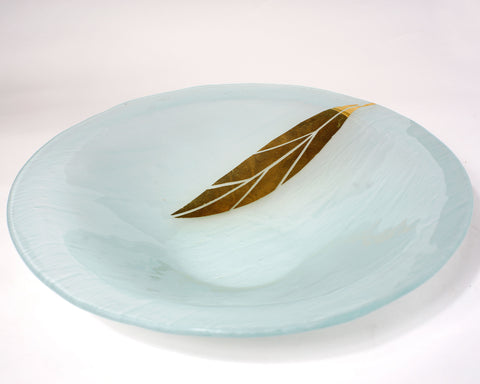 Gold Printed Leaf Serving Bowl