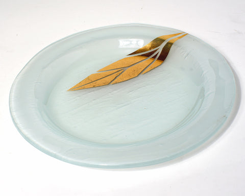 Gold Printed Leaf Salad Plate