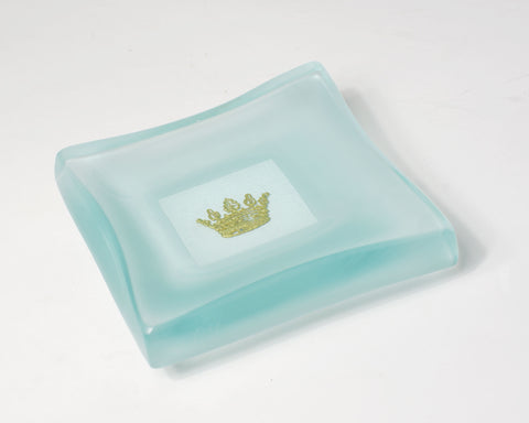 Gold Frosted Crown Charm Dish