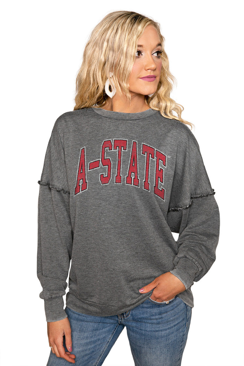 "ARKANSAS STATE RED WOLVES ""BASICALLY PERFECT"" Ruffle Detail Acid-Wash Pullover"