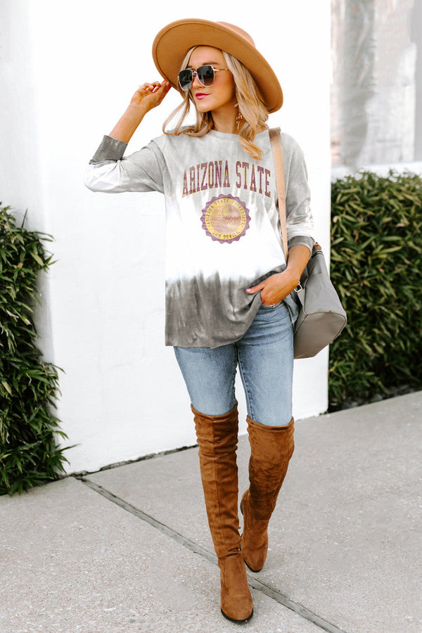 "ARIZONA STATE SUN DEVILS ""HIGH LINE"" Tiered Dip-Dye Cotton Long Sleeve Tee"
