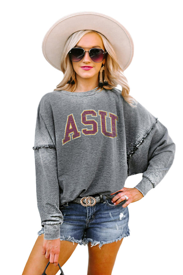 "ARIZONA STATE SUN DEVILS ""BASICALLY PERFECT"" Ruffle Detail Acid-Wash Pullover"