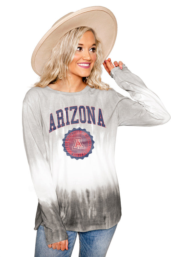"ARIZONA WILDCATS ""HIGH LINE"" Tiered Dip-Dye Cotton Long Sleeve Tee"