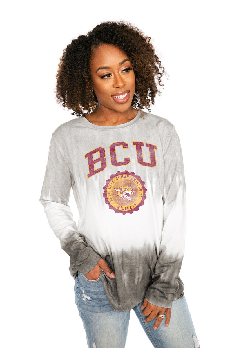 "BETHUNE-COOKMAN UNIVERSITY WILDCATS ""HIGH LINE"" Tiered Dip-Dye Cotton Long Sleeve Tee"