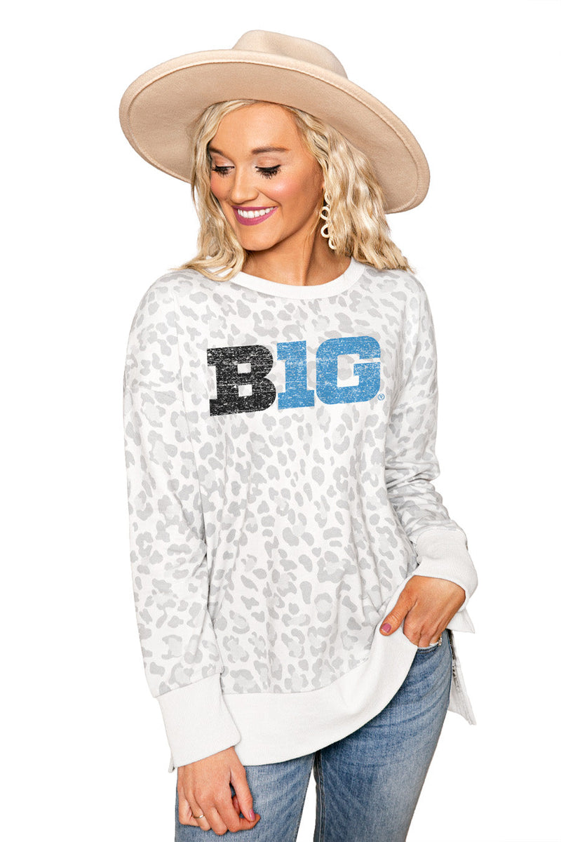 "BIG TEN CONFERENCE ""DAY OFF"" Crew Neck Side-Slit French Terry Pullover"
