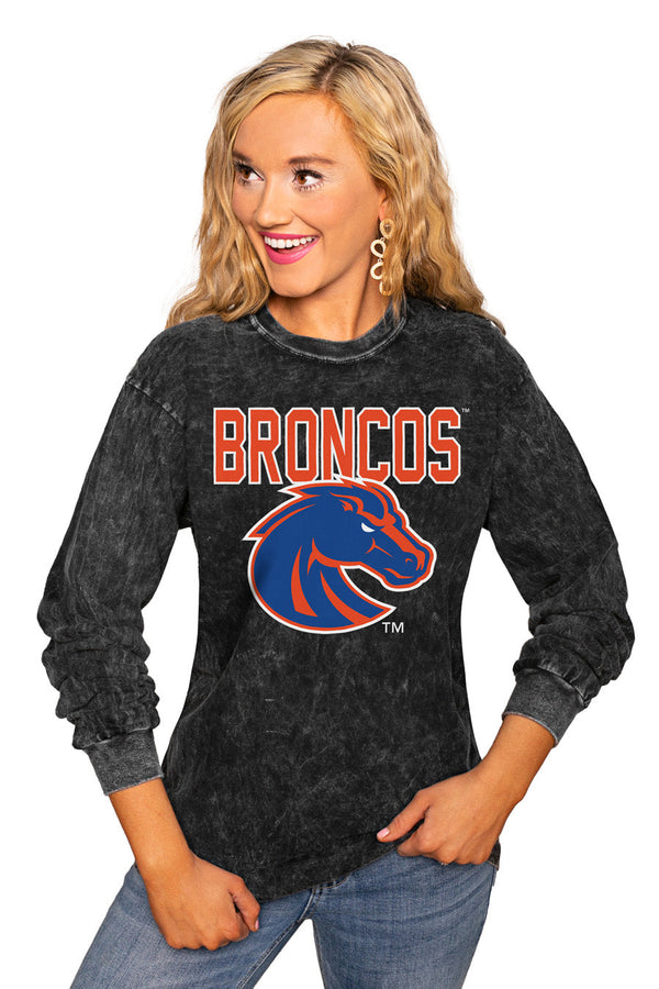"BOISE STATE BRONCOS ""FOURTH DOWN"" RETRO MINERAL WASH CREW"