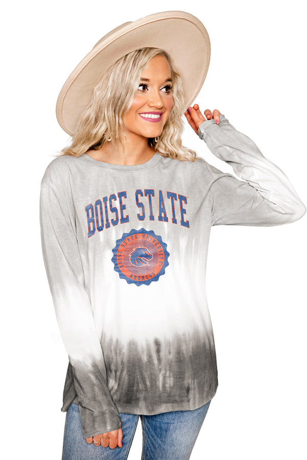 "BOISE STATE BRONCOS ""HIGH LINE"" Tiered Dip-Dye Cotton Long Sleeve Tee"