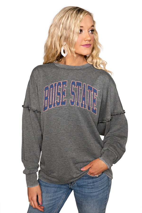 "BOISE STATE BRONCOS ""BASICALLY PERFECT"" Ruffle Detail Acid-Wash Pullover"