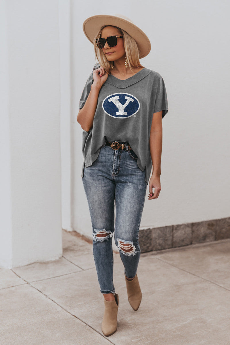 "BYU COUGARS ""DAY TO DAY"" Modal Mineral Wash Slouchy V-Neck Tee"