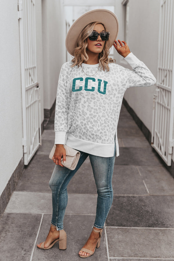 "COASTAL CAROLINA CHANTICLEERS ""DAY OFF"" Crew Neck Side-Slit French Terry Pullover"