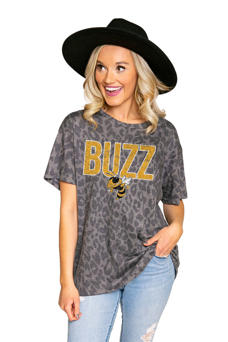 "GEORGIA TECH YELLOW JACKETS ""HEADS UP"" Oversized Crewneck Slouchy Fit Tee"