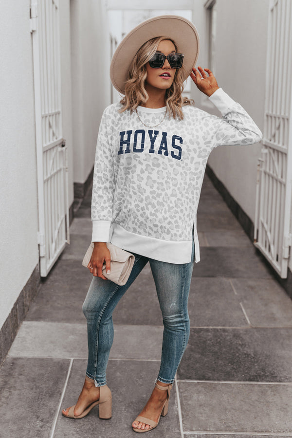 "GEORGETOWN HOYAS ""DAY OFF"" Crew Neck Side-Slit French Terry Pullover"