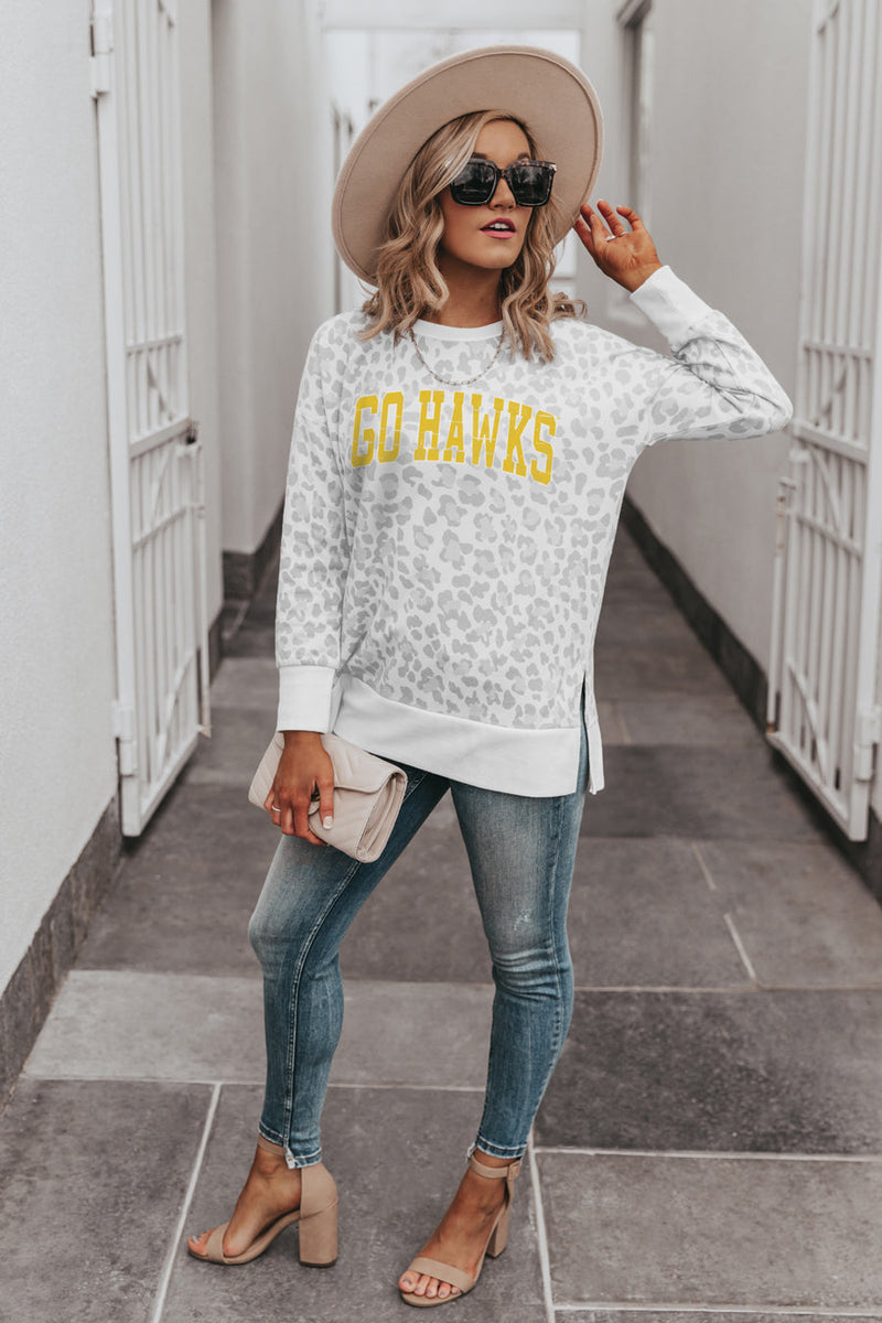 "IOWA HAWKEYES ""DAY OFF"" Crew Neck Side-Slit French Terry Pullover"
