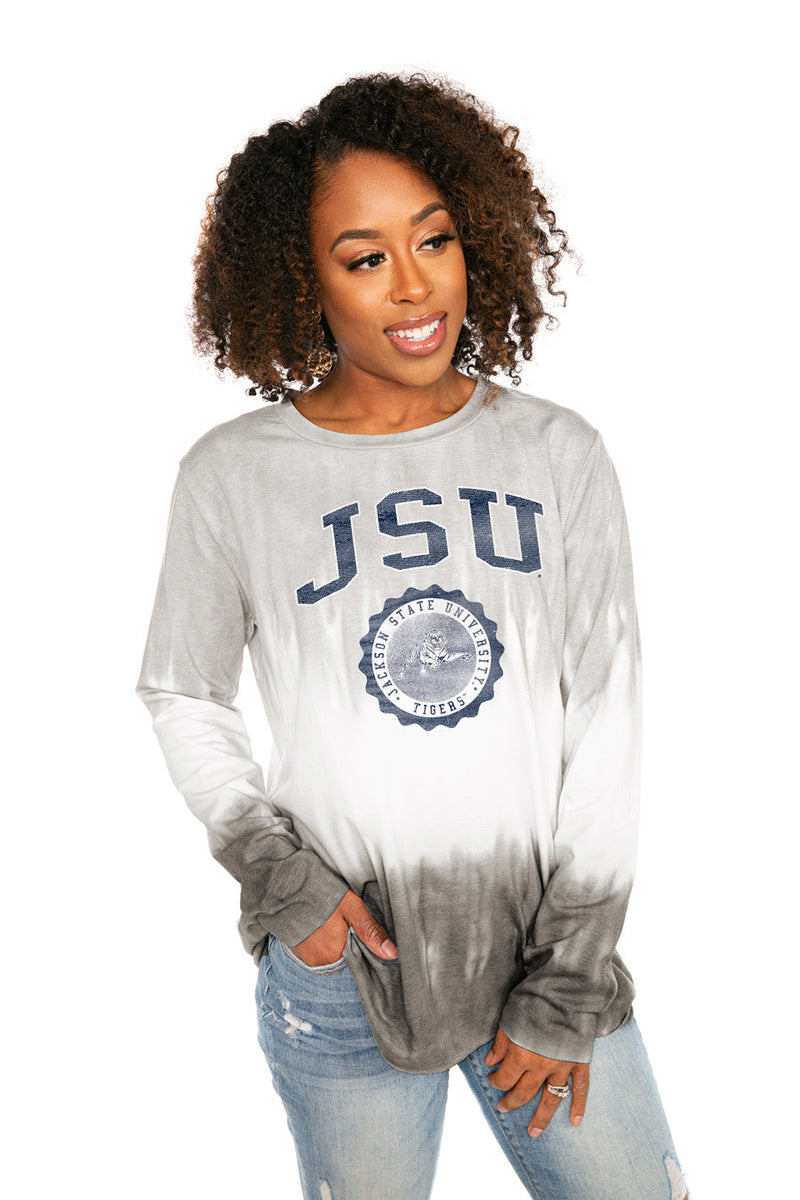 "JACKSON STATE UNIVERSITY ""HIGH LINE"" Tiered Dip-Dye Cotton Long Sleeve Tee"