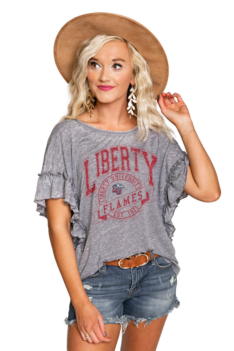 "LIBERTY UNIVERSITY ""NEVER BETTER"" Ruffle Acid Wash Top"
