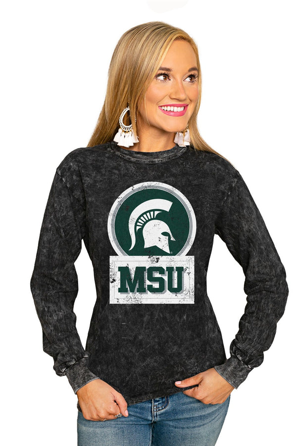 "MICHIGAN STATE SPARTANS ""GOOD VIBES"" RETRO MINERAL WASH CREW"