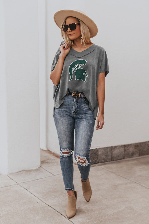 "MICHIGAN STATE SPARTANS ""DAY TO DAY"" Modal Mineral Wash Slouchy V-Neck Tee"