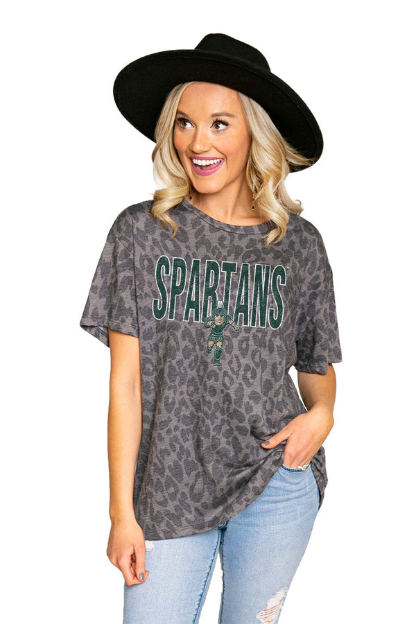 "MICHIGAN STATE SPARTANS ""HEADS UP"" Oversized Crewneck Slouchy Fit Tee"