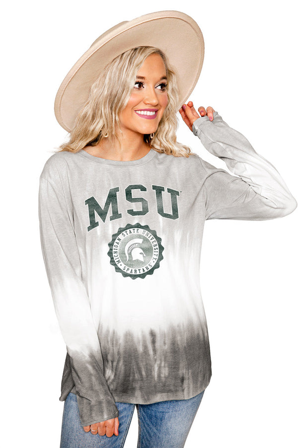 "MICHIGAN STATE SPARTANS ""HIGH LINE"" Tiered Dip-Dye Cotton Long Sleeve Tee"