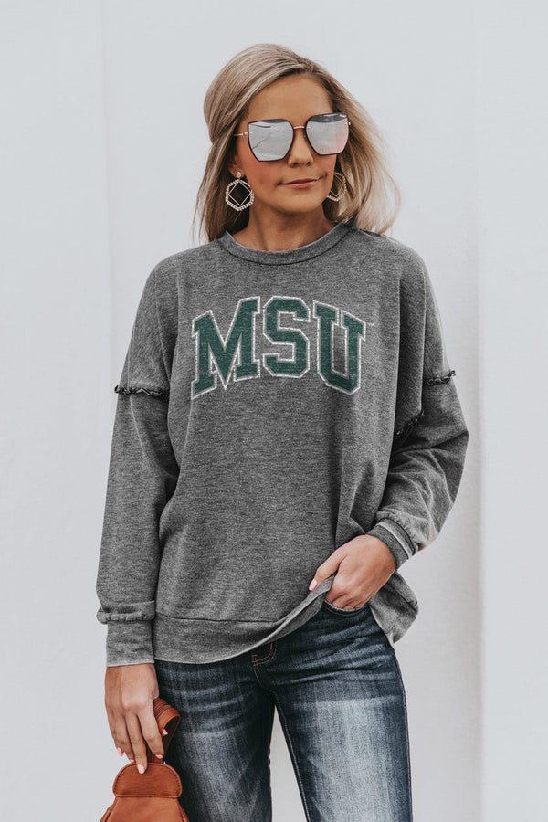 "MICHIGAN STATE SPARTANS ""BASICALLY PERFECT"" Ruffle Detail Acid-Wash Pullover"