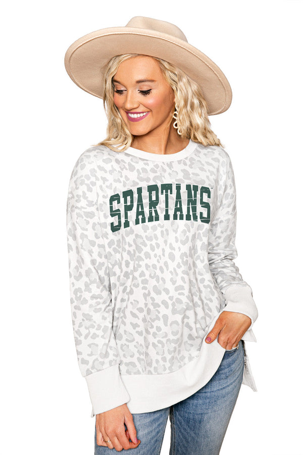 "MICHIGAN STATE SPARTANS ""DAY OFF"" Crew Neck Side-Slit French Terry Pullover"