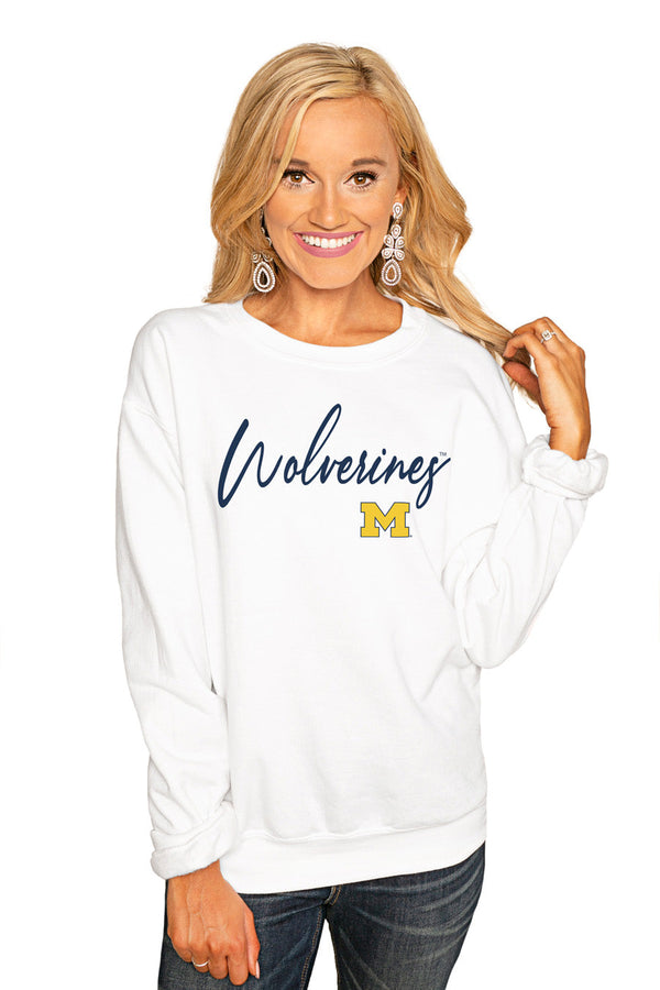 "MICHIGAN WOLVERINES ""WIN THE DAY"" PERFECT COZY CREW SWEATSHIRT"