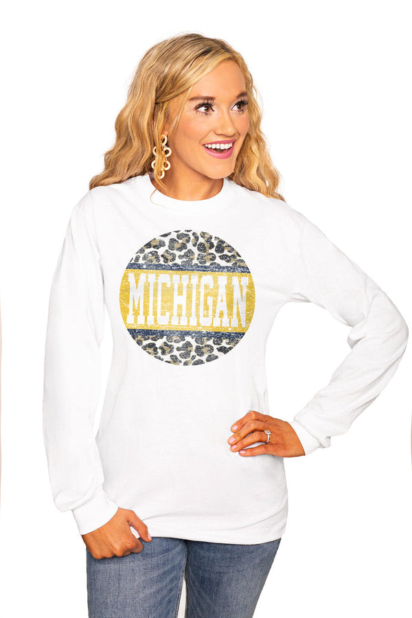 "MICHIGAN WOLVERINES ""SCOOP & SCORE"" Luxe Boyfriend Crew"