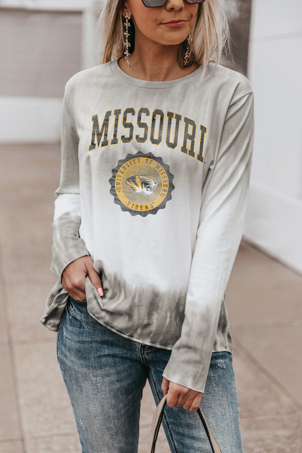 "MISSOURI TIGERS ""HIGH LINE"" Tiered Dip-Dye Cotton Long Sleeve Tee"