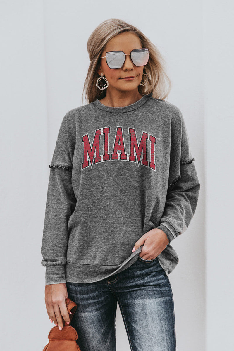 "MIAMI OF OHIO REDHAWKS ""BASICALLY PERFECT"" Ruffle Detail Acid-Wash Pullover"