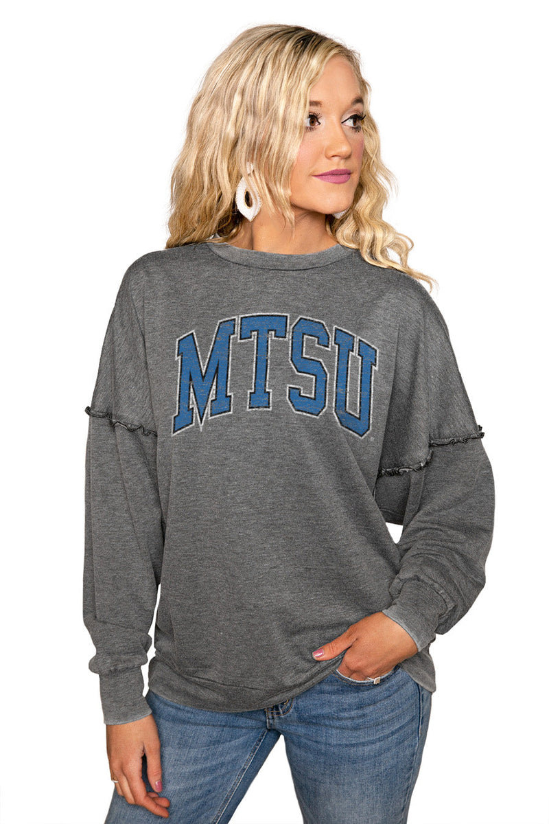 "MIDDLE TENNESSEE STATE ""BASICALLY PERFECT"" Ruffle Detail Acid-Wash Pullover"