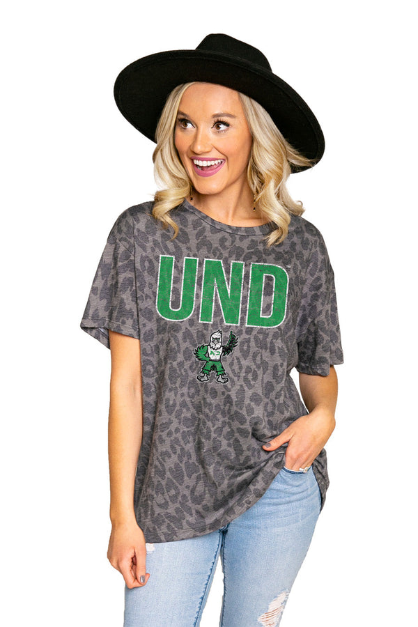 "NORTH DAKOTA FIGHTING HAWKS ""HEADS UP"" Oversized Crewneck Slouchy Fit Tee"