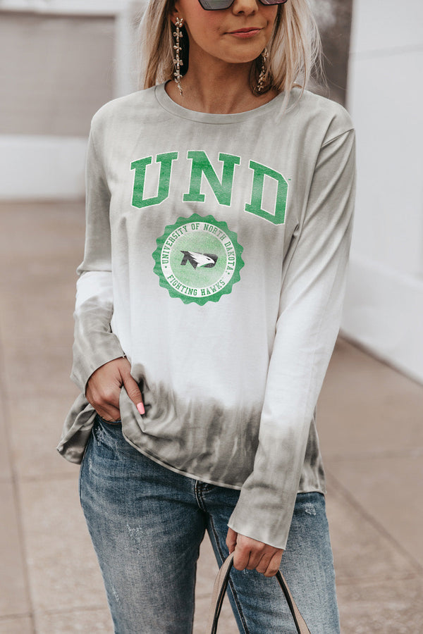 "NORTH DAKOTA FIGHTING HAWKS ""HIGH LINE"" Tiered Dip-Dye Cotton Long Sleeve Tee"