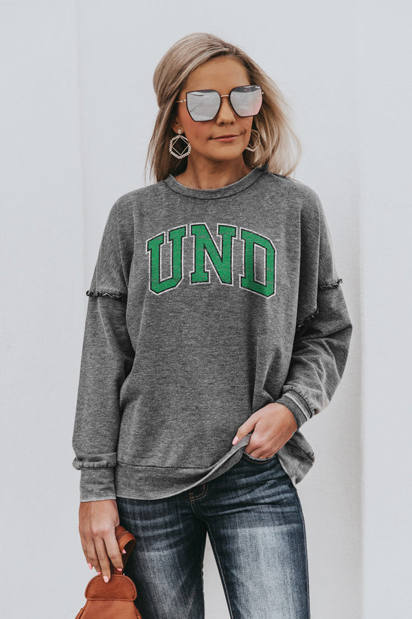"NORTH DAKOTA FIGHTING HAWKS ""BASICALLY PERFECT"" Ruffle Detail Acid-Wash Pullover"