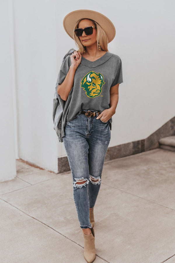 "NORTH DAKOTA STATE BISON ""DAY TO DAY"" Modal Mineral Wash Slouchy V-Neck Tee"